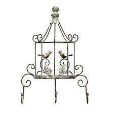 Stratton Home Birdcage 3-Hook Metal Antique Silver & White Wall Indoor Decor