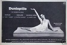 PUBLICITÉ 1959 DUNLOPILLO MOUSSE DE LATEX MATELAS OREILLER COUSSIN - ADVERTISING