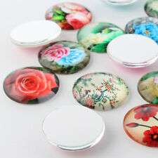 10pc Mixed Flower Printed Glass Cabochons Flatback Round Dome Cover Craft 14x5mm