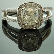 Solid Real 14K White Gold Ring 2.10 Ct Cushion Cut Diamond Engagement Rings
