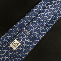 Hermes Mens Necktie 669 OA Chain Links H monogram Blue 100% Silk Tie France
