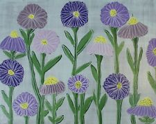 Purple Aster Flower Painting Canvas Art  Kim Magee Abstract Floral Artwork New