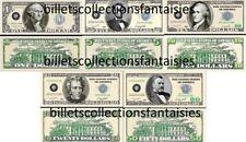 LOT de 5 Billets différents : POKER - MONEY # 1. Commémoration / Collection