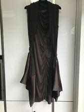 BNWT Main line Amanda Wakeley Brown Pure Silk Dress & Matching Large Shawl UK 14