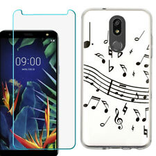 TPU Case for LG Solo LTE, Harmony 3, K40 w/ Tempered Glass - Music Notes Wht