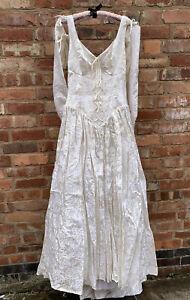 Vintage Late 80s Medieval Style Wedding Dress Retro Princess Ivory UK 12
