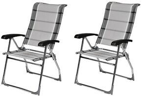 Dukdalf Aspen Grey Strip Chair x2 / Folding Caravan Chair / Latest Model