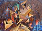 Original Oil Painting in Cubist style. Three Beauties, One of a Kind