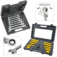 Combination Ring Wrench + Hex Bolsters Screwdriver 20 Piece Set for Mechanics