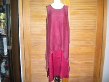 Plantation House Long Silk 2 Pc Layered Loose Fit Tunic or Dress Burgundy #4791