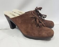 UGG Brown Leather Suede Open Back Tied High Heel Mules Shoes Size 9
