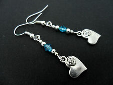 A PAIR TIBETAN SILVER & BLUE CRYSTAL BEAD DANGLY HEART EARRINGS. NEW.