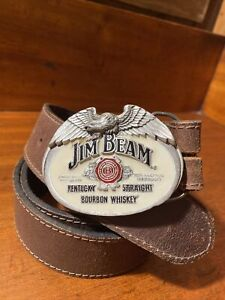 Jim Beam Mens Brown Leather Belt With Buckle Size 36