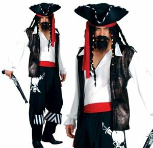 Adult HIGH SEAS BUCCANEER Pirate Caribbean Jack Sparrow Mens Fancy Dress Costume