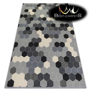 MODERN amazing RUGS 'HEOS' Hexagon Honeycomb grey cream CARPETS ORIGINAL pattern