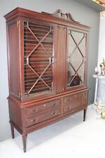 Big Gustavian antique rosewood display cabinet bookcase sideboard buffet carved