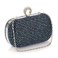 Women Rhinestone Ring Design Evening Bag Shoulder Chain Bag Purse Clutch Handbag