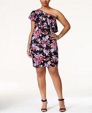NWOT Soprano Women's BlackPrinted Ruffled One-shoulder Dress Plus Sz 3X (Macy's)