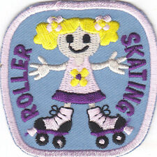 """ROLLER SKATING"" PATCH- Iron On Embroidered Patch - Skates, Sports, Words"