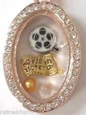 ❤️FLOATING CHARM Locket CHAIN CHARMS LOT ~ IT's MOVIE TIME ~ FITs Memory OWL❤️
