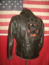 Superb Vintage  HARLEY-DAVIDSON  Motorcycle Cruiser Heavy Leather Jacket .Size M