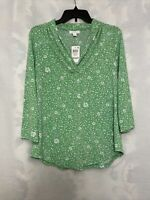 Charter Club Size Small Floral Print V-Neck Blouse Womens Green Top NEW