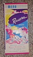 Vintage Menu RIVIERA Restaurant San Francisco & Los Angeles 1944 mailer