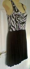 Miso Vest Style Mini Dress Size 8 Black/White & Purple Print
