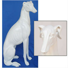 "WHITE DOG STATUE GREYHOUND WHIPPET POINTER 21"" TALL ANIMAL FIGURE PLATED RESIN"