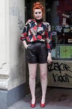 Miss Joy Damen Leder Hose leather hot pants braun brown 90er True VINTAGE 90s