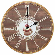 "TKF 13"" Silent Wall Clock with Bakery Patisserie Cupcake Rustic Prints"