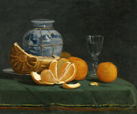 STILL LIFE WITH AN OPENED ORANGE FRENCH PAINTING BY EUGENE BOUDIN REPRO