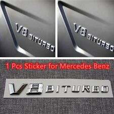 1X Side Fender Sticker Badge Silver OEM Chrome Letter V8 ABS for Mercedes Benz