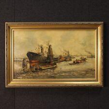 Quadro olandese acrilico su tela marina dipinto paesaggio firmato stile antico