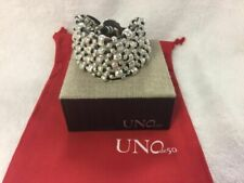 UNOde50 Crazy Goat Silver Brown Leather White Pearl Handcrafted Bracelet