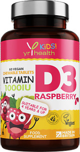 Kids Vitamin D3 1000iu Tablets Natural Raspberry Flavour Bones and Immune System