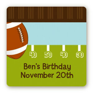 Football Birthday Party - Square Personalized Birthday Party Stickers
