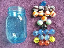 """mixed Lot of 23 Vintage Assorted 1"""" Jumbo boulder Marbles milk glass swirl"""