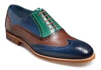 Handmade Blue & Brown Leather Correspondent Wingtips for Men two tone men shoes