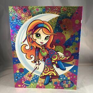 Vintage 2002 Lisa Frank 3-Ring 2 Pocket Folder Hippie Star Girl Moon