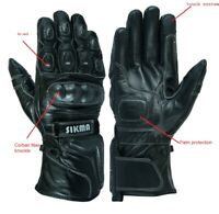 Sikma Leather Thermal Winter Motorbike Motorcycle Gloves Carbon Fiber Knuckles