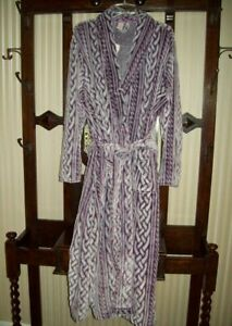 NWT CABERNET LONG WRAP FRONT MICRO FLEECE PLUSH ROBE BELTED VIOLET F52403 XL