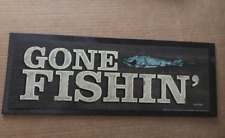 GONE FISHIN hunt fishing camp primitive country lodge cabin decor wooden sign