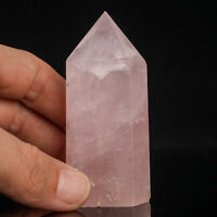 104g 74mm Natural Pink Rose Quartz Crystal Point/Tower Healing Obelisk Wand
