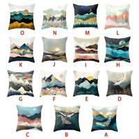 Mountain Cotton Linen Pillow Case Car Sofa Waist Throw Cushion Cover Home Decor