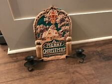 Antique Vintage Early 1900's Merry Christmas Candle Holder Hanging. Free Ship