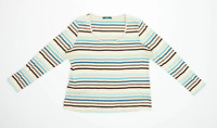 Marks & Spencer Womens Size 16 Striped Cotton Multi-Coloured Top (Regular)
