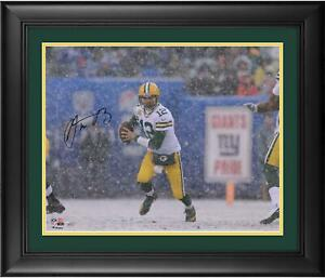 """Aaron Rodgers Green Bay Packers Framed Autographed 16"""" x 20"""" Snow Photograph"""