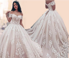 Tulle Off Shoulder Ball Gown Wedding Dresses Bridal Gown Lace Applique Custom