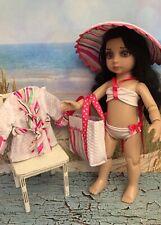 "Patsy/Anne Estelle 6 PC Beach Outfit for 10""Dolls Bikini,Hat,BeachCoat,Bag,Towel"